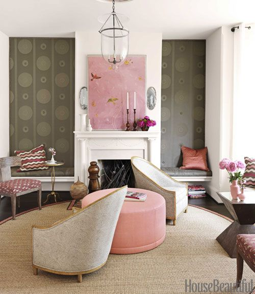 pink and brown: Colors Combos, Idea, Houses Beautiful, Living Rooms, Chairs, Barry Dixon, Interiors Design, Colors Schemes, Pink Accent
