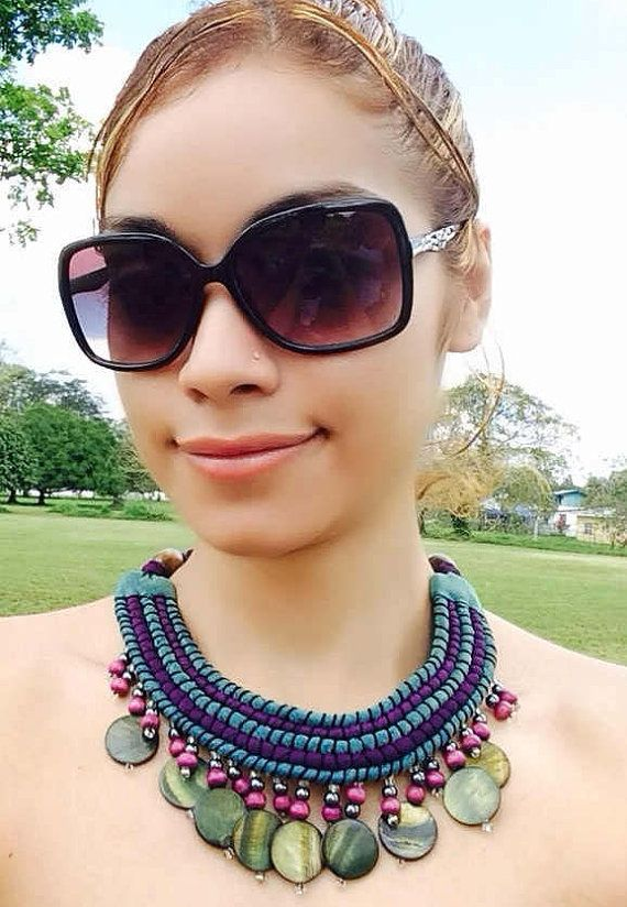 Statement Necklace Bib Necklace Tribal Necklace by FabricTwist, $23.00