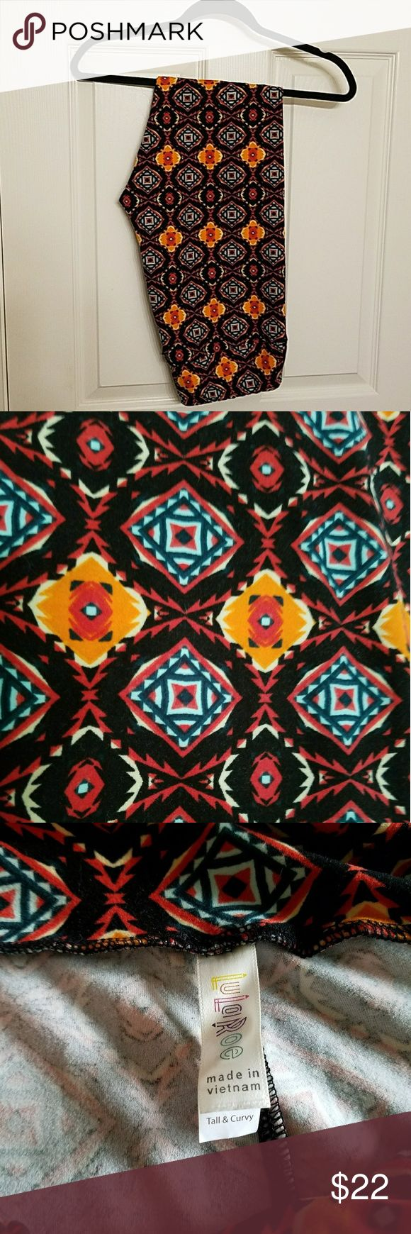 TC LuLaRoe Leggings Tall and Curvy sized LuLa leggings with a multicolored Aztec print over a black background. Never worn, brand new condition LuLaRoe Pants Leggings