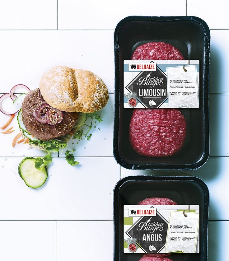 DIY-burgers at your Delhaize supermarket. Packaging design should invite you to enjoy good food. In any case, this transparent packaging gives you what it promises. Real artisan meatburgers packed in a nostalgic wrapper, of which every butcher would be proud of. It's time to experiment with these three flavors! More appetizing packaging design can be found on www.quatremains.be
