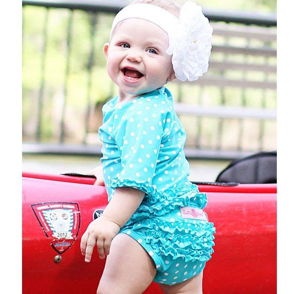 "Ruffle Butts ""Aqua Polka Dot"" Ruffled Rash Guard Swim Set"