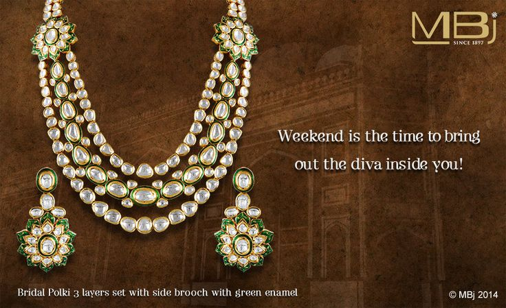 """Weekend is the time to bring out the diva inside you !  Get adorned with Bridal Polki 3 layer set with side brooch along with green emarald from our collection """"The Mughal Garden & English Rose"""". This stunning piece dazzles you with the elegant display of Polki for any occassion. #MBj #Luxury #Jewellery #Fashion #Necklace #Traditional #Mughal #Polki #Saturday #Weekend #Pearl #Emerald #Brooch #Bridal"""