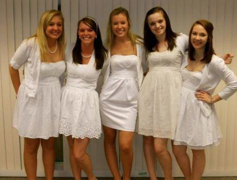 White sorority initiation dress
