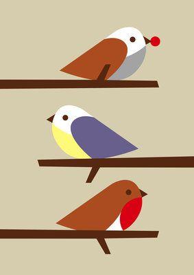 3 Birds Poster Art Print by Dicky Bird