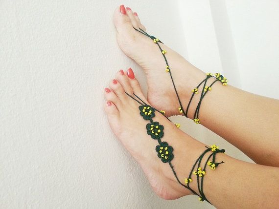 Green with yellow beads flowers Barefoot Sandals by ArtofAccessory, $17.00