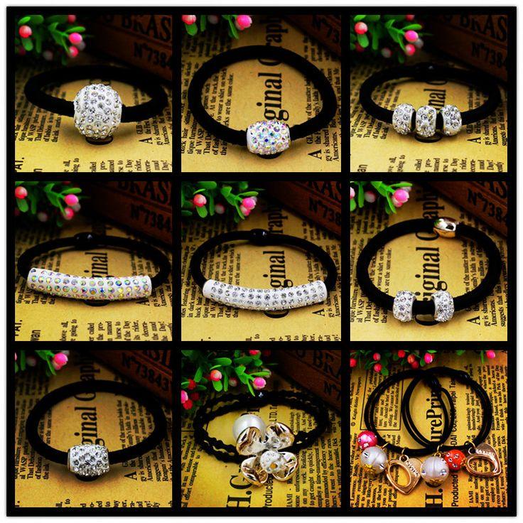 5 pz/lotto Stile Caldo di Cristallo di Gomma Accessori Per Capelli Bellezza Perle Del Cuore Doppi Strati Placcato Oro Del Fiore Cravatta Nera Gum