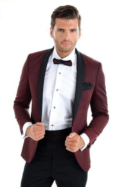 4ba7b5fd2560 Burgundy With Black Lapel Men s Dinner Party Prom Suits Groom Tuxedos  Groomsmen Wedding Blazer Suits (Jacket+Pants+Tie) NO 220