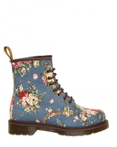 Dr. Martens Blue Floral Print Canvas Lace Up Boots