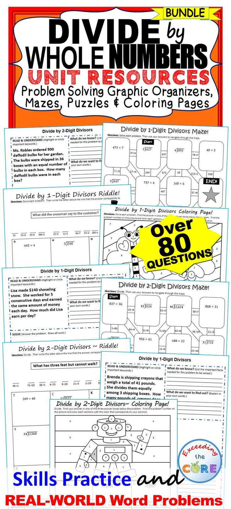 DIVIDE by 1-DIGIT & 2-DIGIT NUMBERS BUNDLE - Includes 20 problem solving graphic organizers, 2 mazes, 2 riddles, 2 coloring activities (over 88 skills practice and real-world word problems). The resources in this bundle are perfect for warm-ups, cooperative learning, spiral review, math centers, assessment prep and homework.  Topics included: Divide 3- and 4-digit Dividends by 2-Digit Divisor, Solve Real-World Word Problems 5th grade math Common Core 5.NBT.6