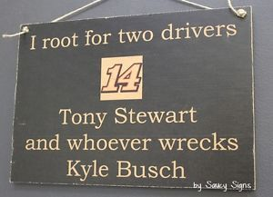 a tony stewart wrecks kyle busch rare driver sign racing bar man cave tickets
