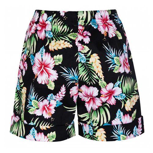 Nishka shorts korte broek met hibiscus bloemen print zwart - Vintage, 50's, Rockabilly