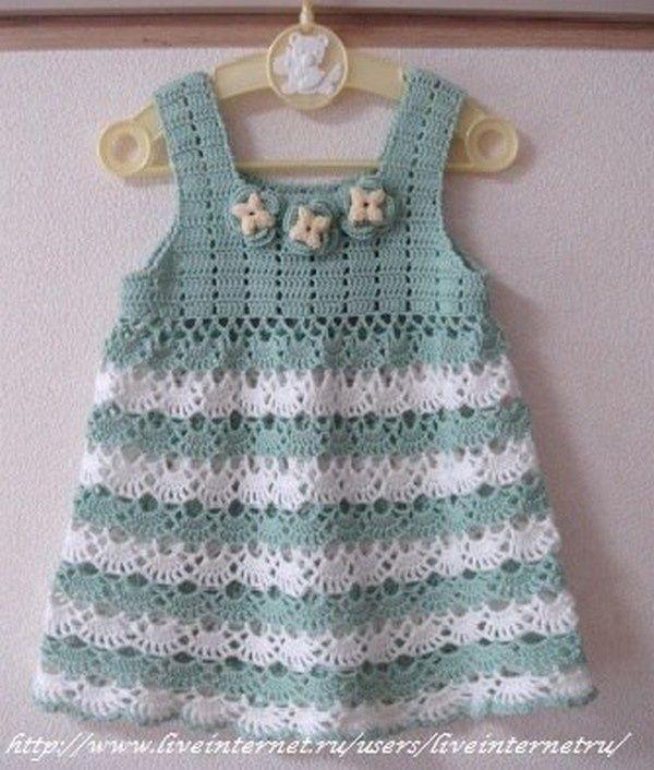 gratis patrones de ganchillo: Hermoso vestido con colores suaves del ganchillo del bebé tienda de lanas