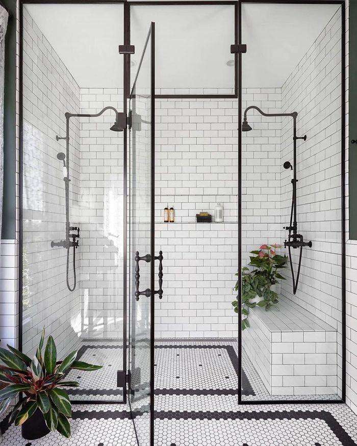 Black White Bathroom By Michelle Dirkse Bathrooms Remodel House Design Bathroom Goals