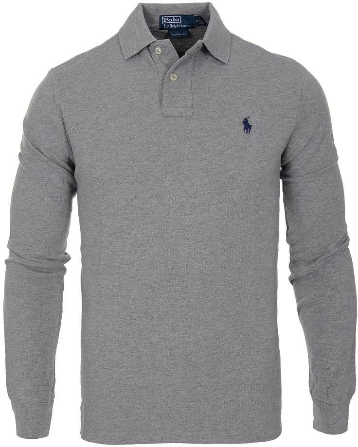 Polo Ralph Lauren Long Sleeve Custom Fit Piké Andover Heather hos