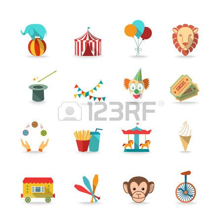 Circus tent with monkey and lion and clown magical wand triks icons set flat isolated vector illustration photo