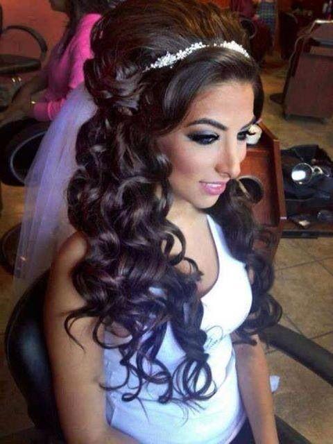 Assyrian bride in beautiful hair & makeup.