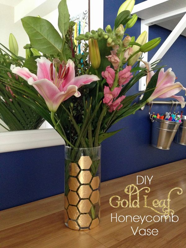 DIY Gold Leaf Honeycomb Vase by Teal & Lime for makelyhome.com