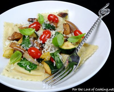 Artichoke Ravioli with Spinach, Tomatoes, Mushrooms, and Squash