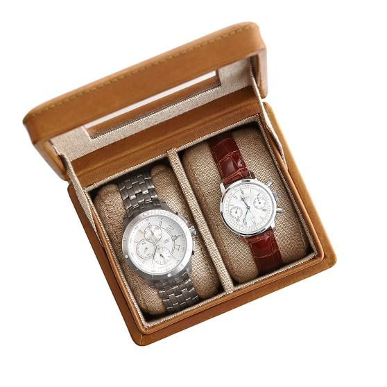 Rustic Leather 2-Slot Watch Box | Mark and Graham