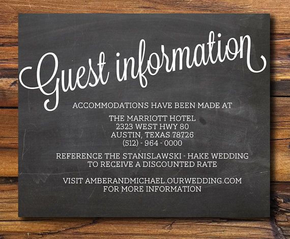 Guest Information from rusticweddingchic.com