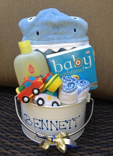 Baby Shower Gifts - DIY Baby Bath Bucket  Ikea sells similar buckets, the gifting possibilities are endless.