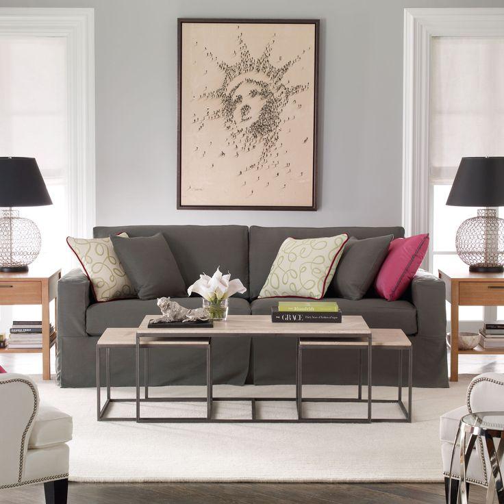 Neutral interiors. Ethan Allen living room. Ethan Allen furniture.