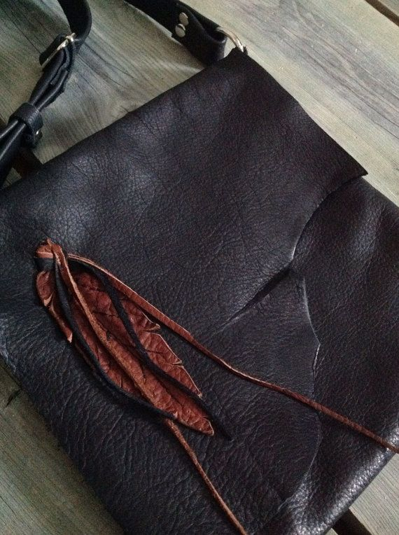 Buttery Soft Black Leather Side Bag with Raw Edge Flap and Handmade Cognac Feather Design by HeartnSoulHandbags, $240.00