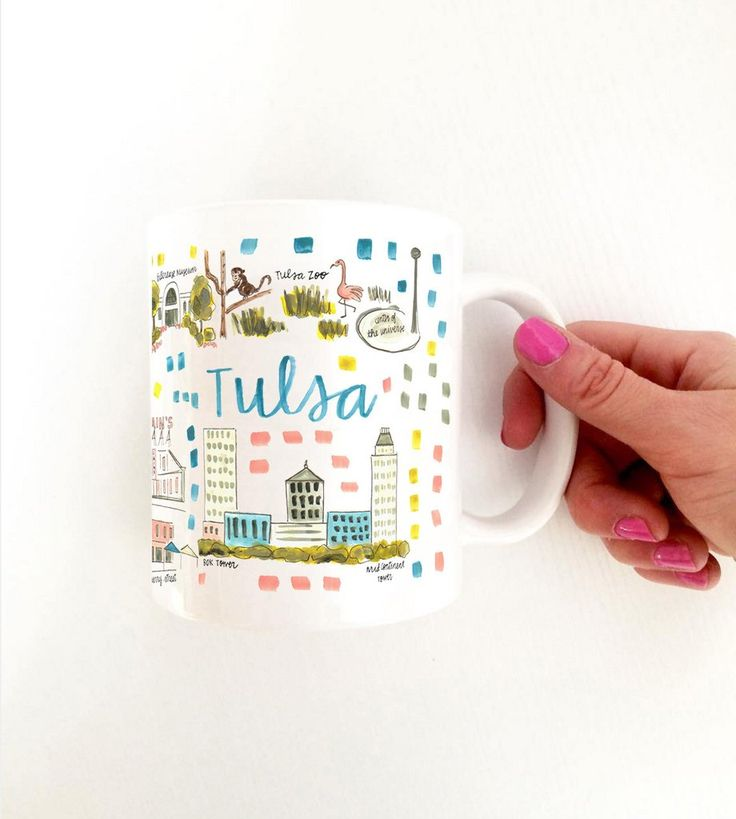 TULSA MAP MUG // Start the morning with a cup of coffee and adventure. Illustrated by artist Evelyn Henson, the design wraps all the way around the mug.