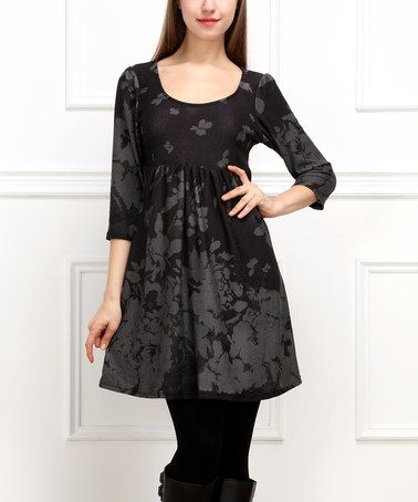 This Black & Gray Floral Empire-Waist Tunic is perfect! #zulilyfinds