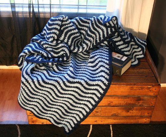 Blue Waves Crochet Ripple Zig Zag Chevron Afghan Blanket Throw on Etsy, $349.34