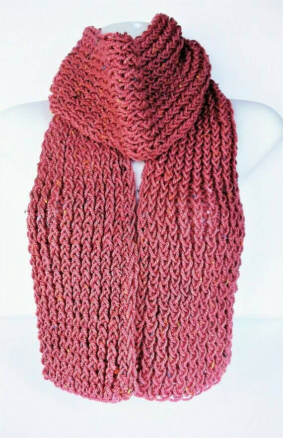 SALE ITEM - Pink boho knit scarf, pink handmade scarf, ladies wool scarf, women's wool scarf, hippie scarf, bohemian style, summer scarf