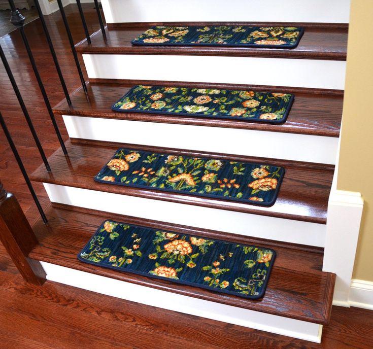 """Dean Premium Nylon Carpet Stair Tread Runner Rugs - Katana Blue 30""""W Set of 15 - Dean Stair Treads"""