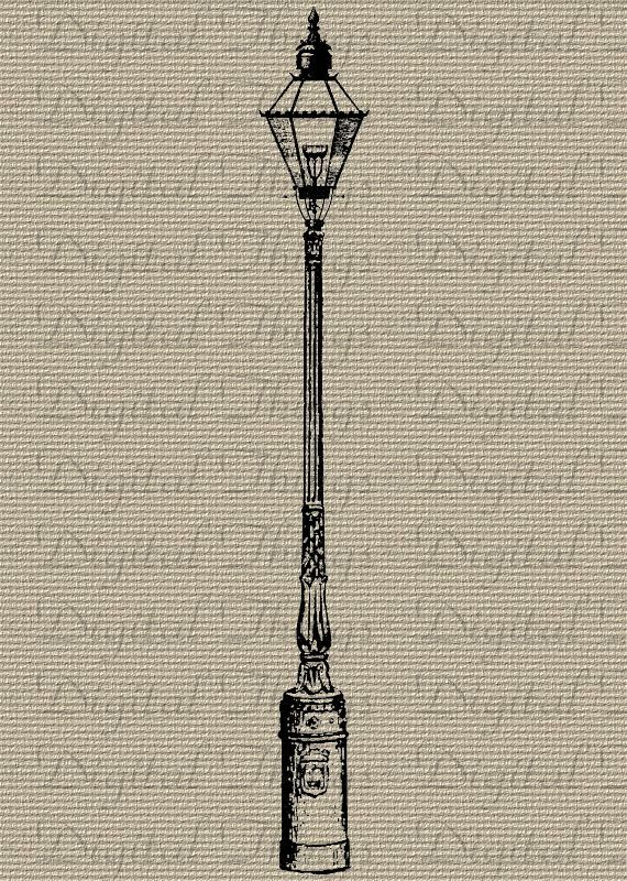 Vintage Lamp Post Light Digital Download for Iron on Transfer Fabric Pillows Tea Towels DT395. $1.00, via Etsy.
