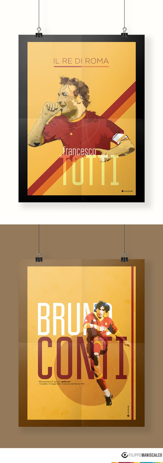 Collection of nine players on the illustrations of the 'Series A, the most beautiful championship in the world'. Graphic reproductions made through different styles. #SerieAPoster #Totti #BrunoConti #ASRoma    In Stock $33.28