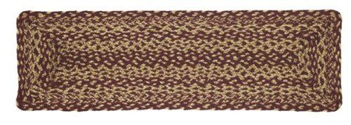 """Country Decor Stair Tread, Braided Jute 8.5""""x27"""" by Victorian Heart. $7.95. 100% Jute Fiber. Reversible stair treads. Spot clean soap, water. Rich primitive decor colors in burgundy and tan. Quality product. These woven jute stair treads will wear like iron for years. The 100% jute fiber is dyed and hand woven into a great pattern to create each Burgandy and Tan Braided Stair Tread. Top quality, rich primitive country decor colors. Each tread measures 8.5""""x27"""". Sp..."""