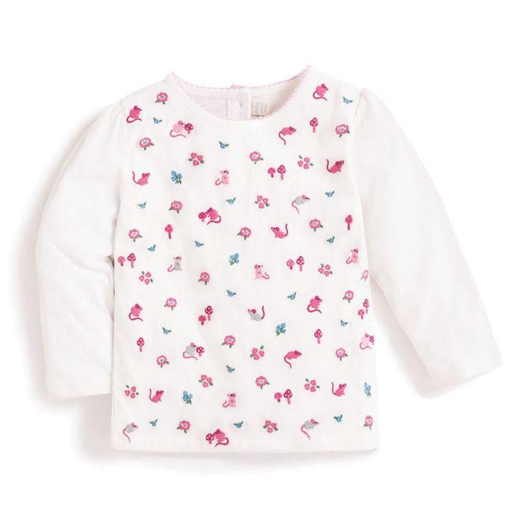 Girls' Cream Mouse Embroidered Top | JoJo Maman Bébé