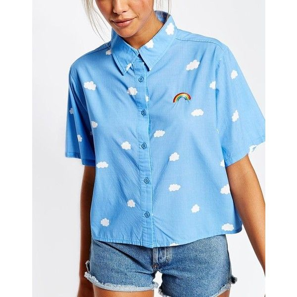 Lazy Oaf Short Sleeve Shirt In Rainbow Clouds Print ❤ liked on Polyvore featuring tops, shirt tops, blue short sleeve shirt, blue short sleeve top, lazy oaf and lazy oaf shirt