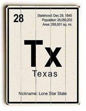 Texas Elements Wood Sign