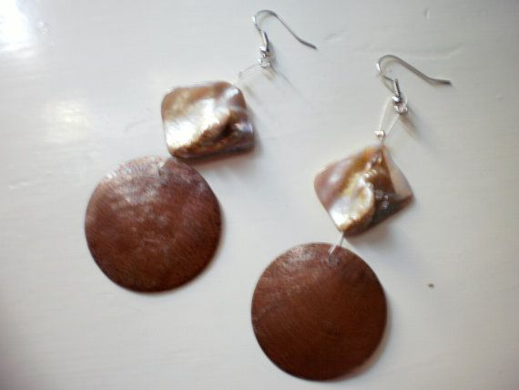 brown dangle earrings by katerinaki106 on Etsy, $10.00