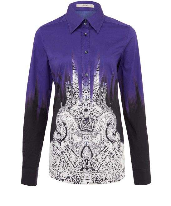 Etro Purple Printed Stretch-Cotton Shirt