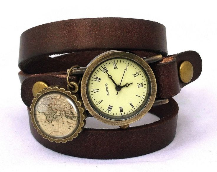 Leather watch bracelet - World map, 0196WDB from EgginEgg by DaWanda.com