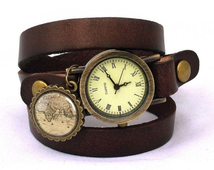 Leather watch bracelet - World map, 0196WDB from EgginEgg by DaWanda.com