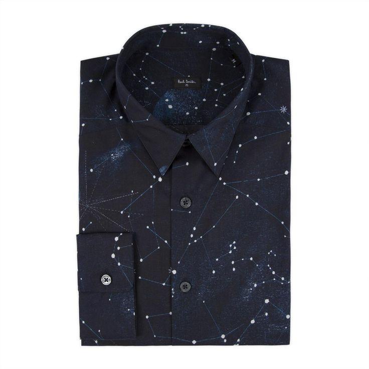 mtb (banana backpack episode) suggested by CasualNonsense - Paul Smith Men's Shirts | Navy Cosmos Print Shirt
