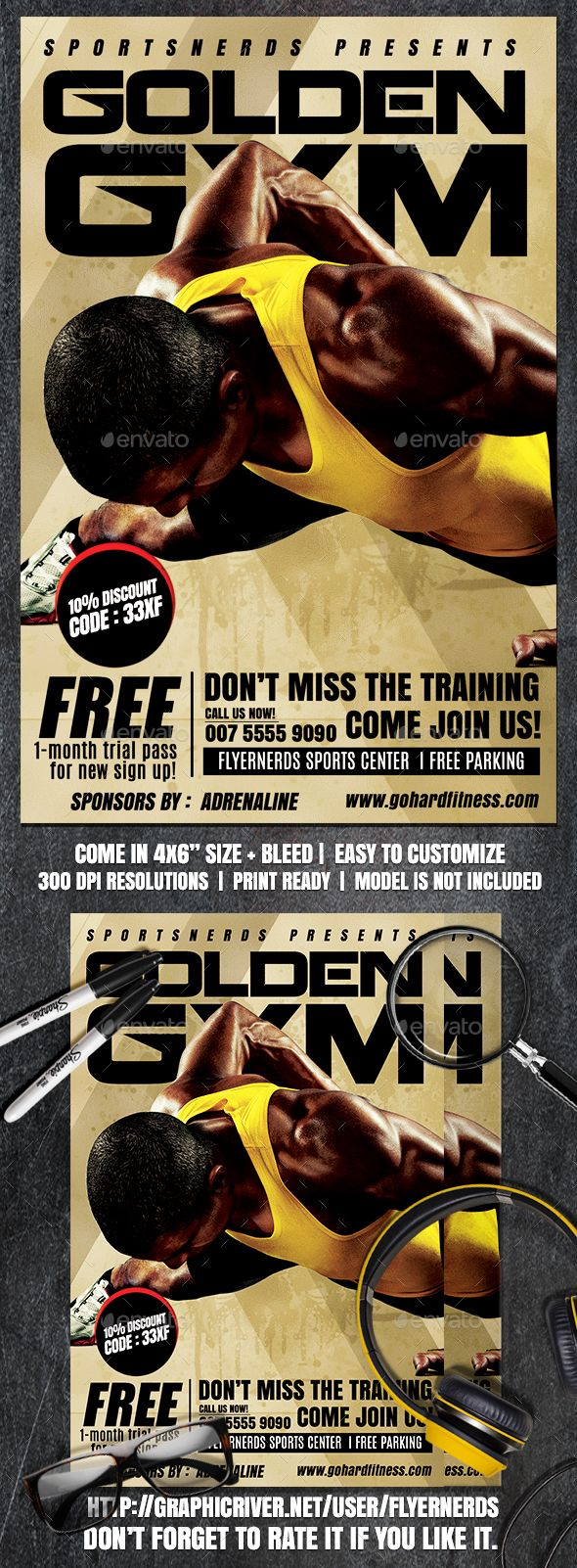 """Gym Center Sports Flyer by flyernerds Gym Center Sports Flyer Description :4x6"""" with bleedPrint Ready ( CMYK, 300DPI ) Easy to edit and fully customizable Model Image d"""