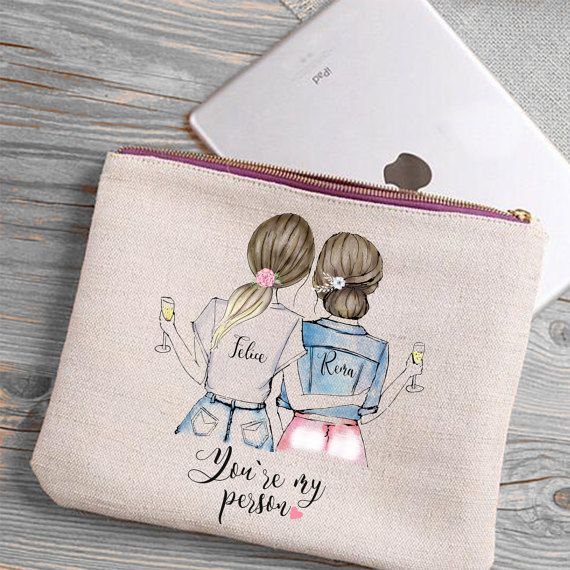 Custom best friend gift, mother,  maid of honor or bridesmaid zippered canvas make up bag,   custom by SPREAD INK