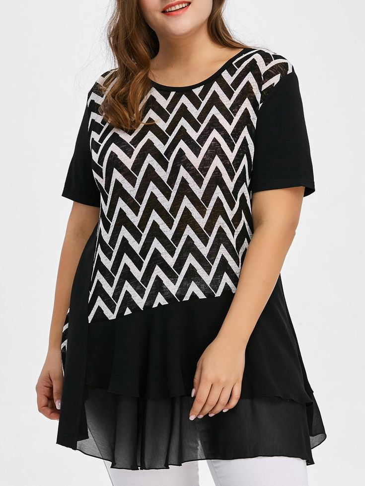 Plus Size Chevron Layered T-Shirt #CLICK! #clothing, #shoes, #jewelry, #women, #men, #hats, #watches