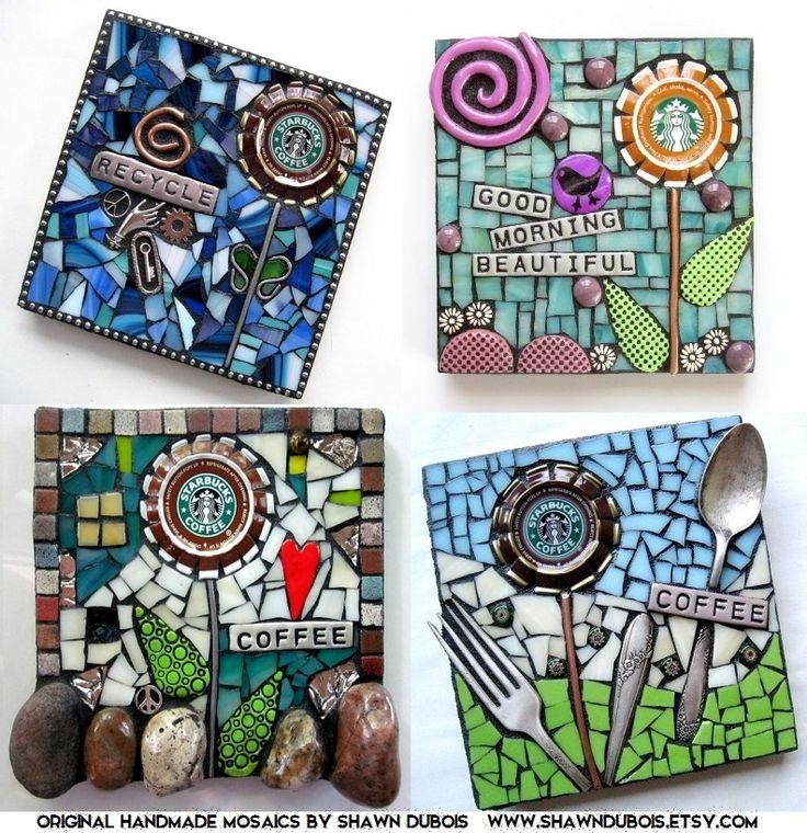 mixed media mosaic handmade art starbucks coffee art