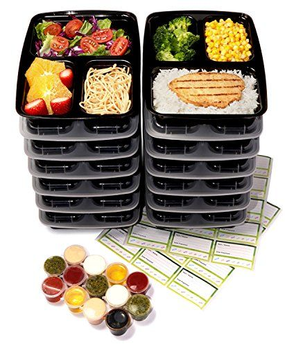 From 13.99 14-pack 3 Compartment Meal Prep Containers With Lids & 30ml Leak Proof Sauce Cups. Microwave & Dishwasher Safe Bpa Free Reusable Stackable Portion Control Bento Lunch Box Food Containers (black)