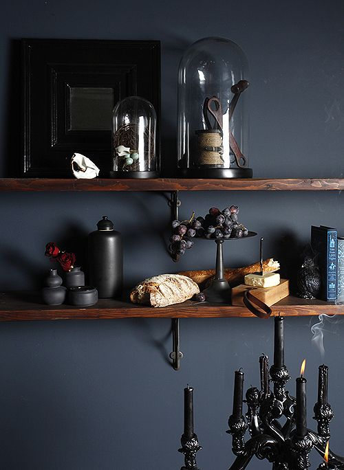 Like this wall colour  http://assets7.designsponge.com/wp-content/uploads/2012/11/MicheleVarian_cheeseshelf_DS.jpg