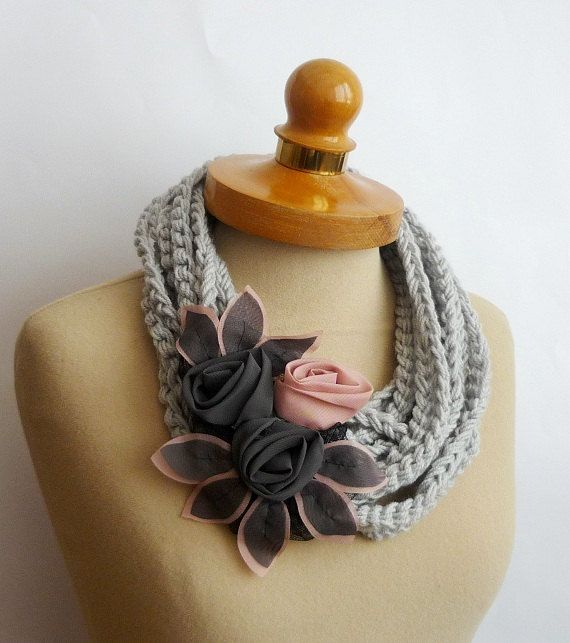 Hey, I found this really awesome Etsy listing at http://www.etsy.com/listing/124283851/grey-infinity-scarf-crochet-necklace